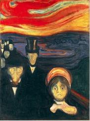Figura 1. Ansiedad, Munch, 1894. Los rostros pálidos, los gestos crispados o el ambiente distorsionado son elementos creativos que sugieren agitación y desasosiego en el sujeto receptor.